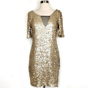 Ark & Co Sequin bodycon V-neck sheath fitted dress